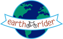 Earth Rider logo of earth intersected with a banner with an image of a cyclist and the words Earth Rider in colors blue, green, aqua, black and red