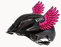 A bicycle helmet with pink wings