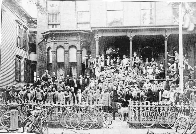 the Lakeview Cycling Club in front of its clubhouse in the 1890s. (Courtesy of the Chicago Tribune)
