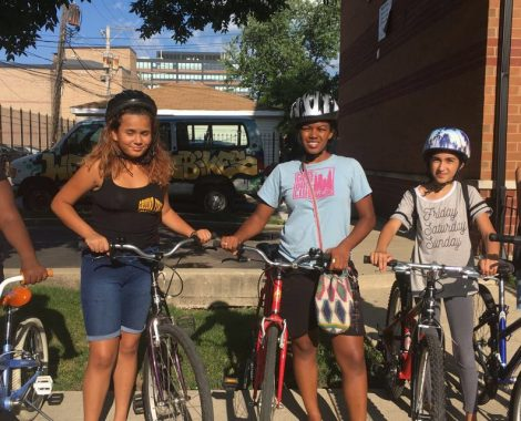 Members of the girls bike club at West Town Bikes
